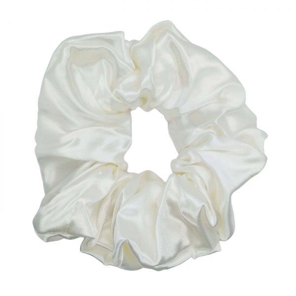 duża gumka biała wykonana z czystego jedwabiu perłowa delikatna