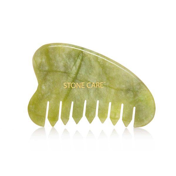 Grzebień jadeitowy, kamień gua sha 2w1 masażer
