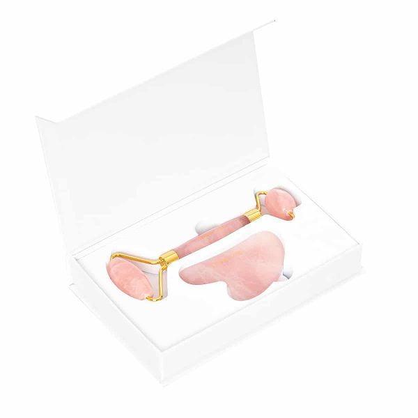 Zestaw do masażu twarzy rose quartz roller + gua sha