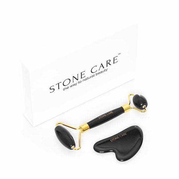 Zestaw do masażu twarzy roller z obsydianu + kamień gua sha